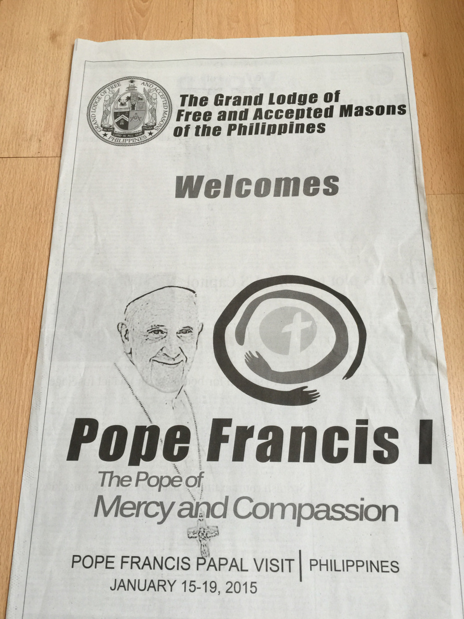 [IMAGE of Grand Lodge of Masons Buy Full Page Newspaper Ad to Welcome Pope Francis I.jpg]